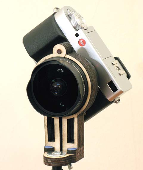 Leica Digilux 3 camera with Olympus8mm fullframe digital fisheye lens, mounted diagonally in a tbopod bracket for spherical panorama photography.